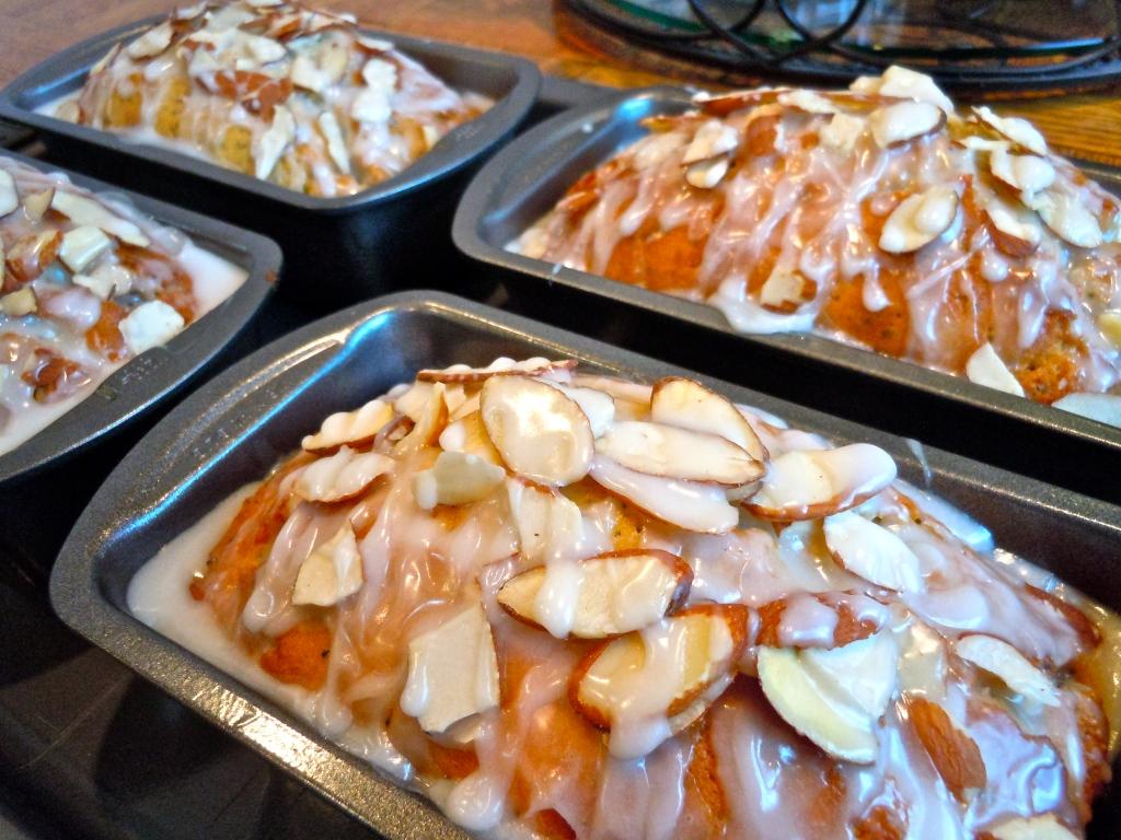 Almond Poppyseed Bread in Pans
