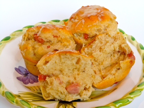 Ham & Cheese Rye Muffins