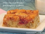 White Chocolate Blondies with Raspberry & Pecans