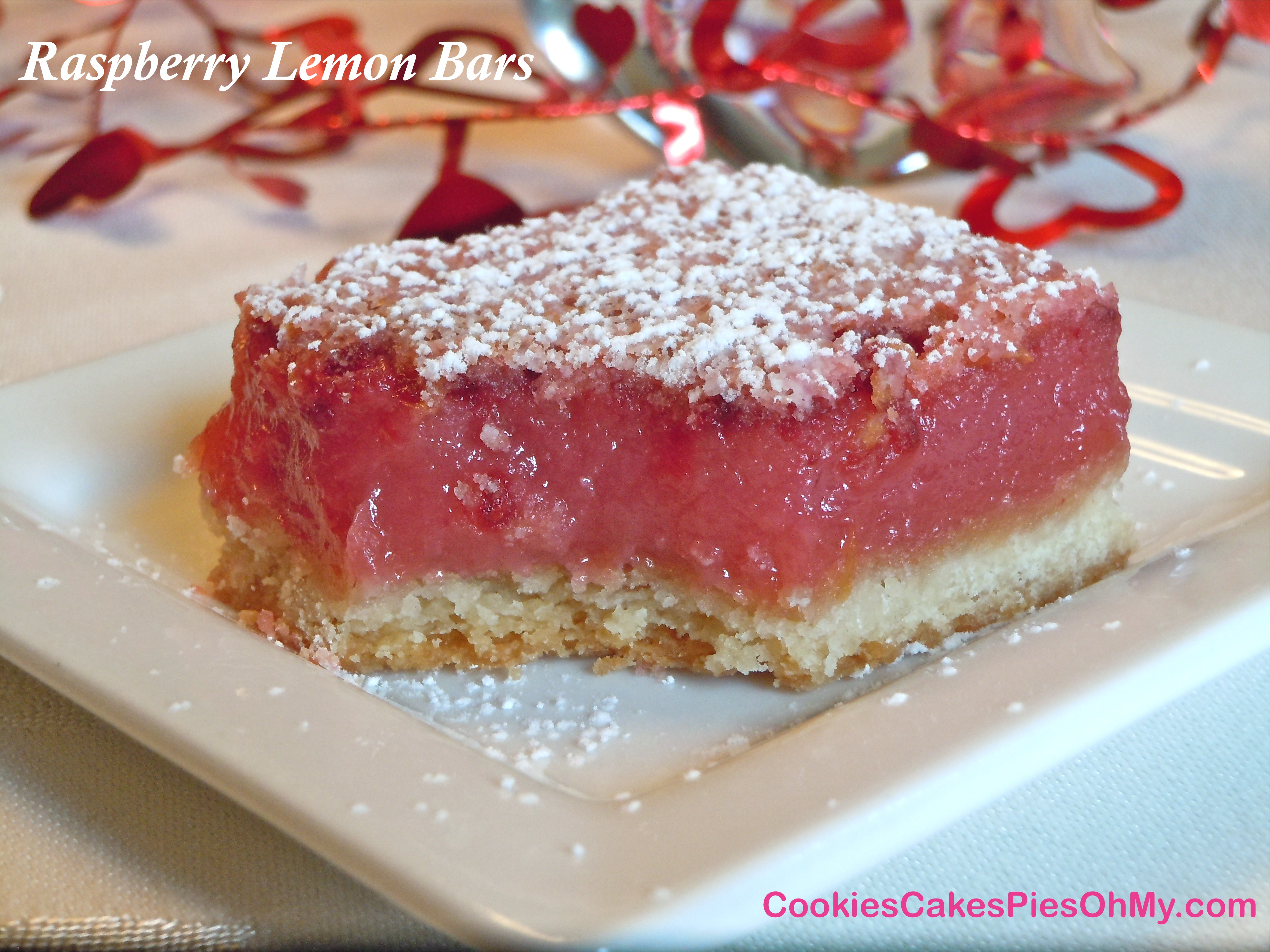 Raspberry Lemon Bars | CookiesCakesPiesOhMy