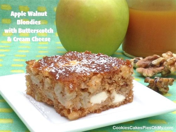 Apple Walnut Blondies with Butterscotch & Cream Cheese