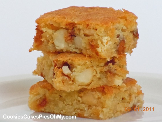 White Chocolate Macadamia Nut Blondies with Cinnamon Chips & Coconut ...