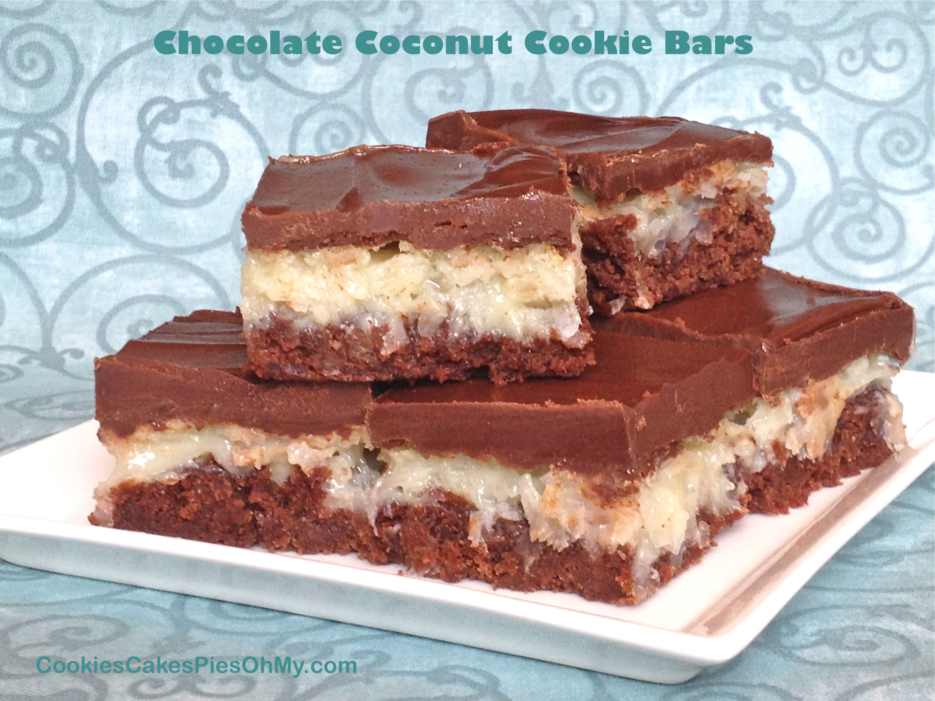Chocolate Coconut Cookie Bars | CookiesCakesPiesOhMy