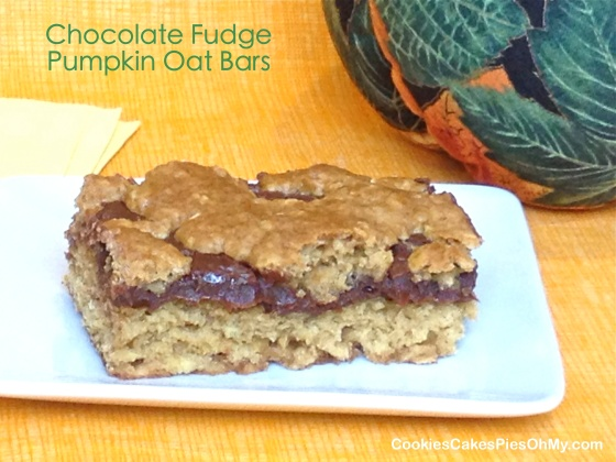 Chocolate Fudge Pumpkin Oat Bars