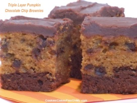 Triple Layer Pumpkin Chocolate Chip Brownies