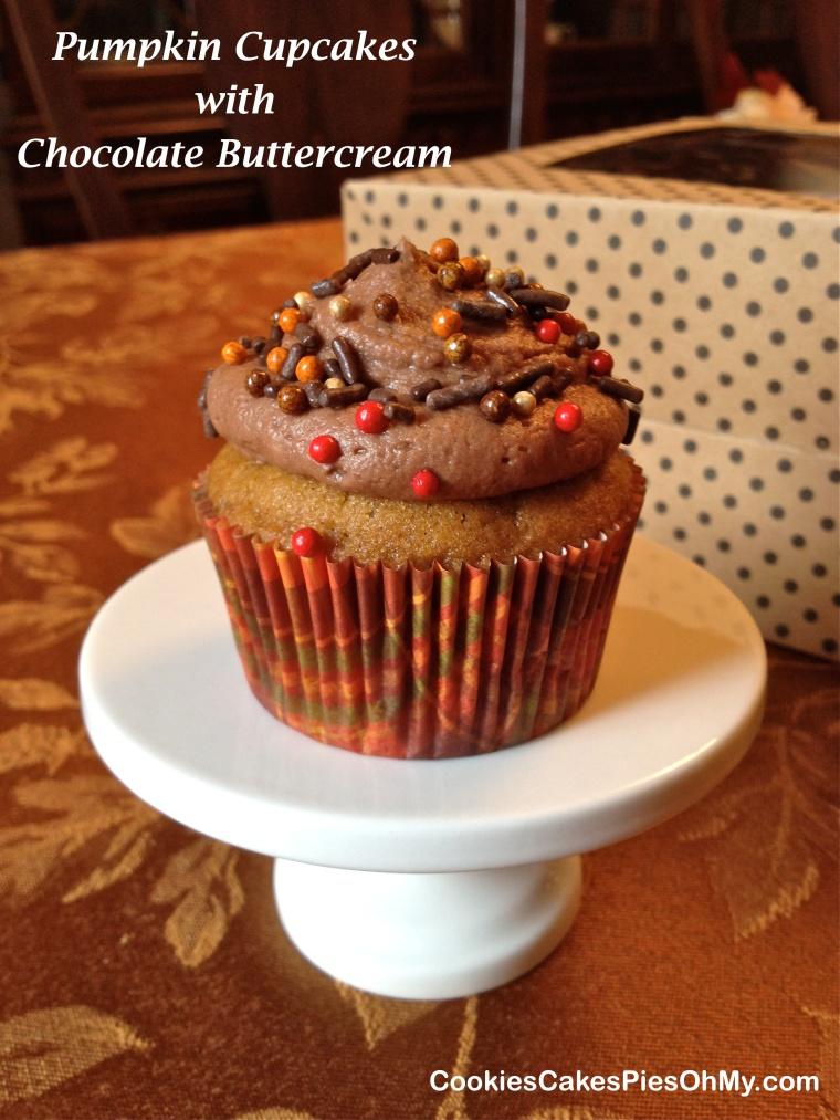 Pumpkin Cupcakes with Chocolate Buttercream