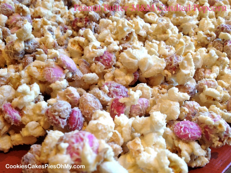 Peanut Butter M&M Candied Popcorn 1