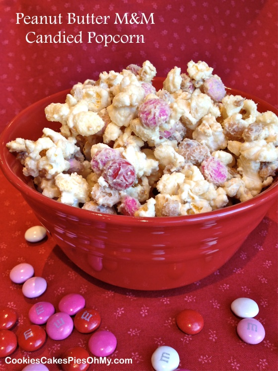 Peanut Butter M&M Candied Popcorn