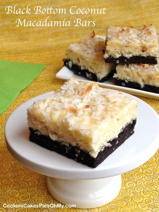 Black Bottom Coconut Macadamia Bars