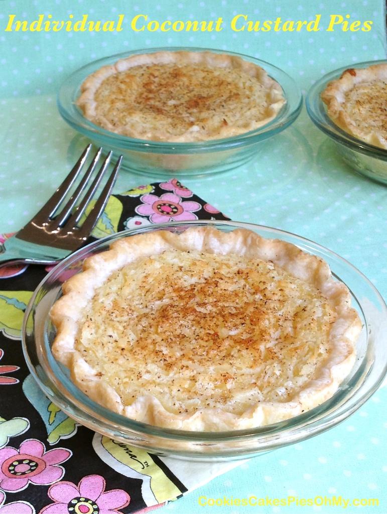 Individual Coconut Custard Pies
