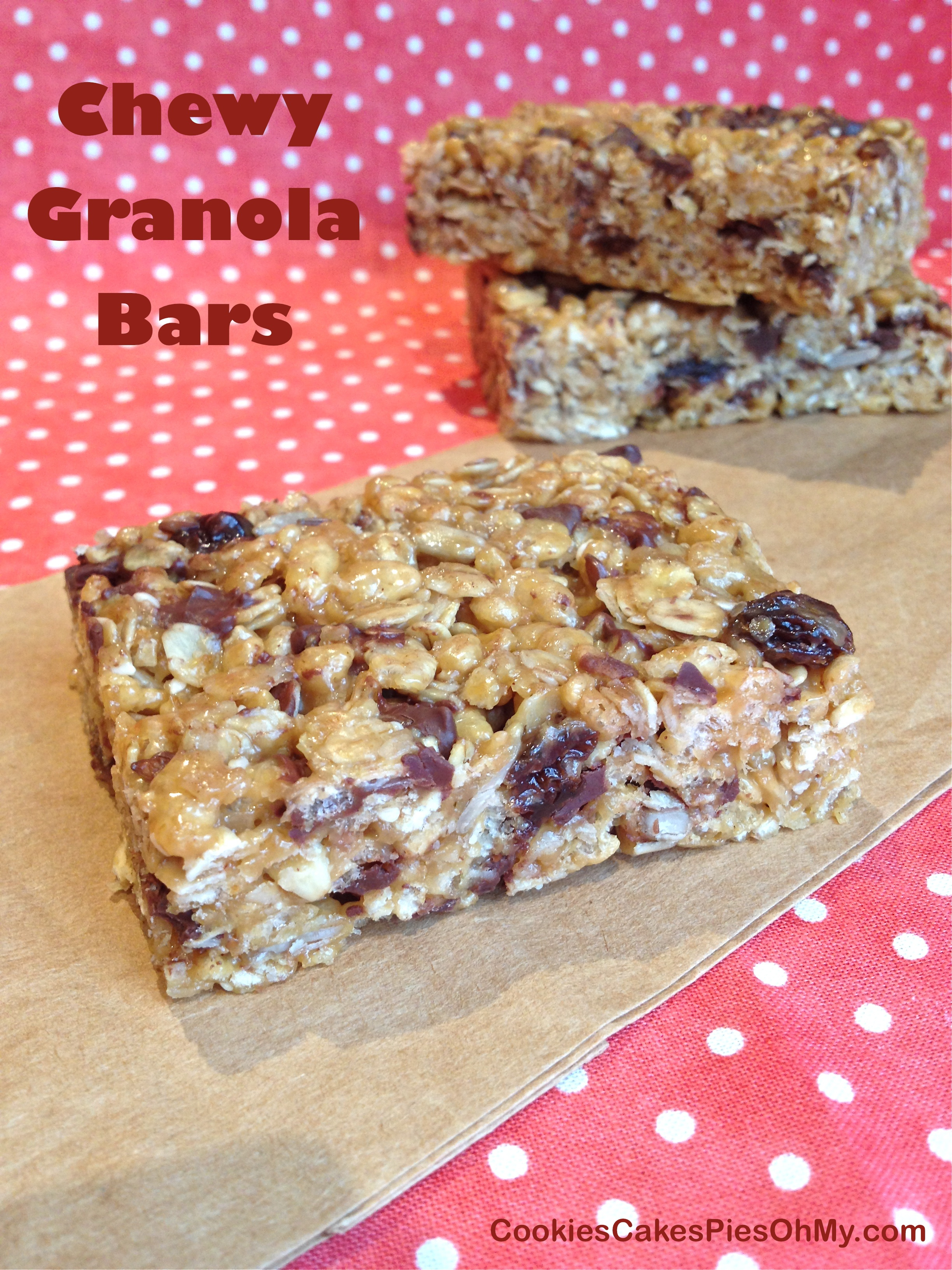 Low Fat Chewy Granola Bars With Pecans Raisins And Chocolate Recipe ...
