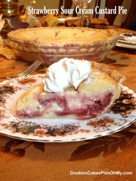 Strawberry Sour Cream Custard Pie