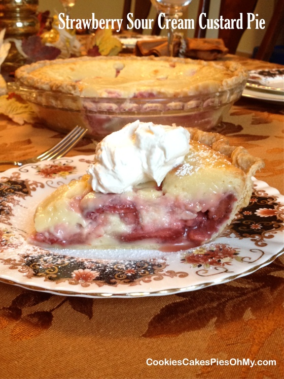 Strawberry Sour Cream Custard Pie