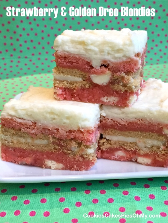 Strawberry & Golden Oreo Blondies