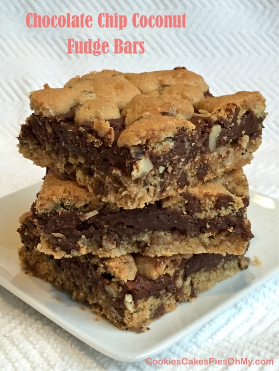 Chocolate Chip Coconut Fudge Bars