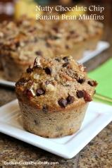 Nutty Chocolate Chip Banana Bran Muffins