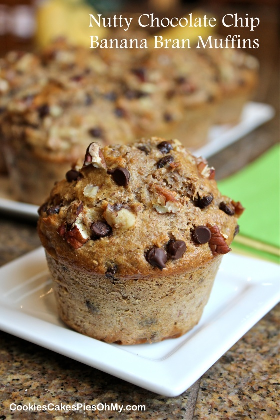 Nutty Chocolate Chip Banana Bran Muffins