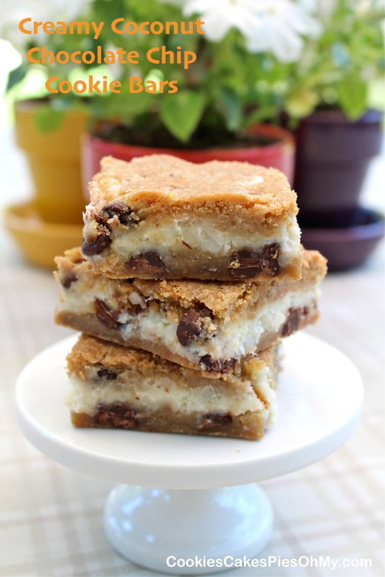 Creamy Coconut Chocolate Chip Cookie Bars