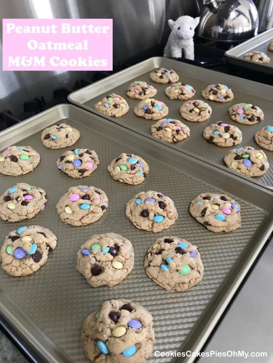 Peanut Butter Oatmeal M&M Cookies