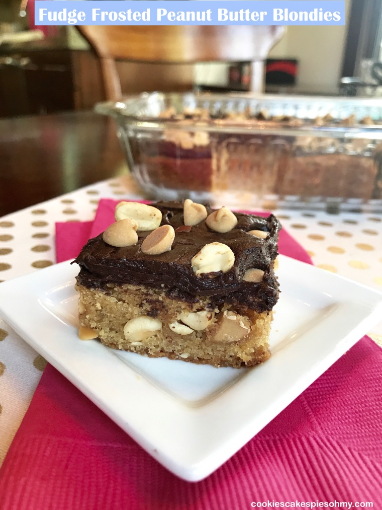 Fudge Frosted Peanut Butter Blondies
